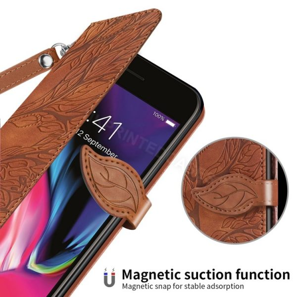 Tree Leaf Leather Wallet Case For iPhone