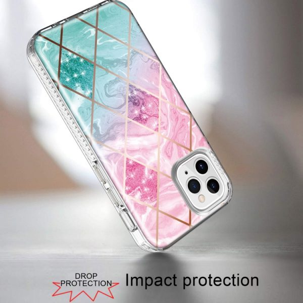 Electroplated Diagonal Marble Hard Phone Case