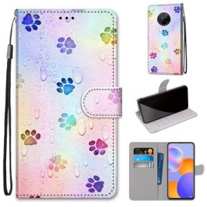 colourful paw print wallet case